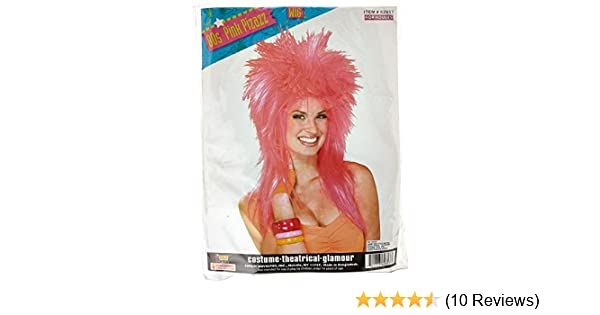 Amazon.com: Forum Novelties Womens Pizazz 80s Punk Rocker Costume Wig, Pink, One Size: Clothing