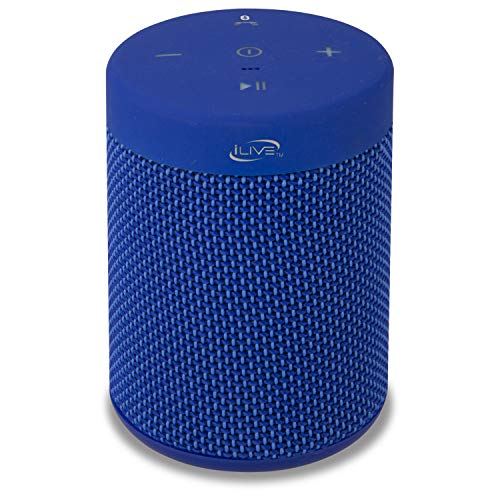iLive Waterproof Fabric Wireless Speaker, 2.56 x 2.56 x 3.4 Inches, Built-in Rechargeable Battery, Blue (ISBW108BU)
