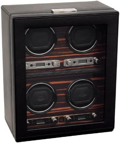 WOLF 459156 Roadster Four Piece Watch Winder with Cover, Black