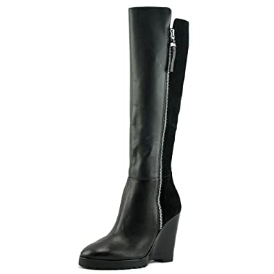 e0a573d722c52d Amazon.com | Michael Michael Kors Women's Clara Wedge Boot Black Smooth  Calf/Kid Suede Boot 10 M | Shoes