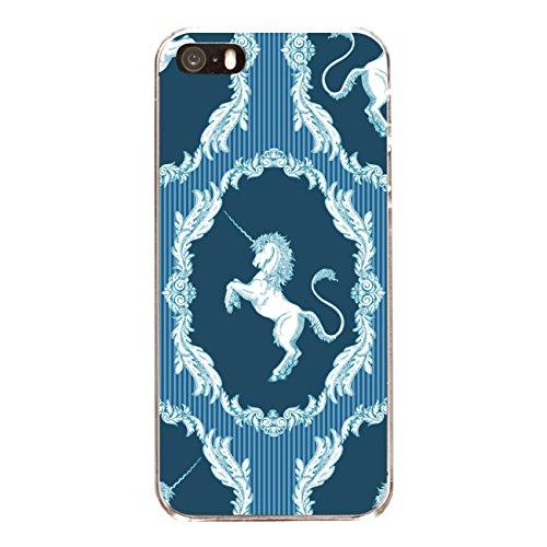 """Disagu SF-sdi-4558_1132#zub_cc6486 Design Schutzhülle für Apple iPhone SE - Motiv """"klassisches Einhorn Streifenmuster blau"""""""