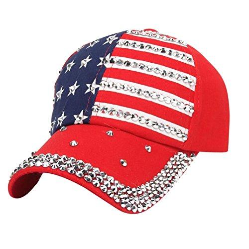 Gotd Women Men Baseball Cap Rhinestone Star Stripe Snapback Hip Hop Flat Hat Adjustable (Red) ()