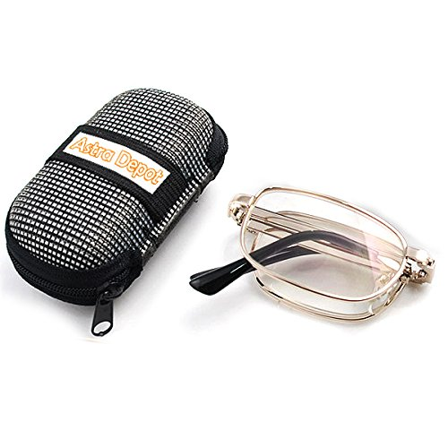 Anti Fatigue Clear Eye Vision Foldable Reading Glasses Eyewear with Pocket Nylon Hard Case (+1.50)