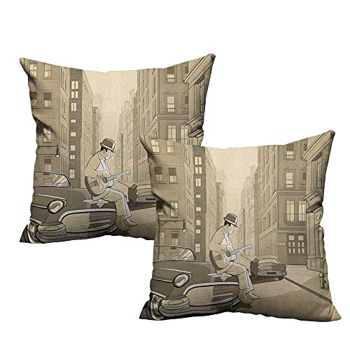 RuppertTextile Simple Pillowcase Jazz Music Illustration of a Guitarist in an Old Street of New York Buildings Music Cityscape Anti-Fading W20 xL20 2 pcs
