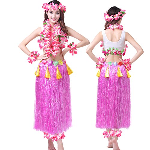 Hawaiian Hula Dance Costume Ballet Performance Cosplay Dress Skirt Garland For Adult 80CM Full (Hawaiian Dress Costume)