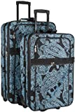 Blue Black Paisley Two Piece Rolling Luggage Set