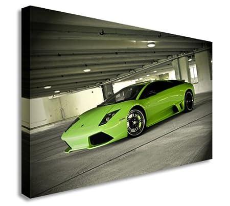 Green Lamborghini Car Park Fast Cars Wall Picture Canvas Prints Art
