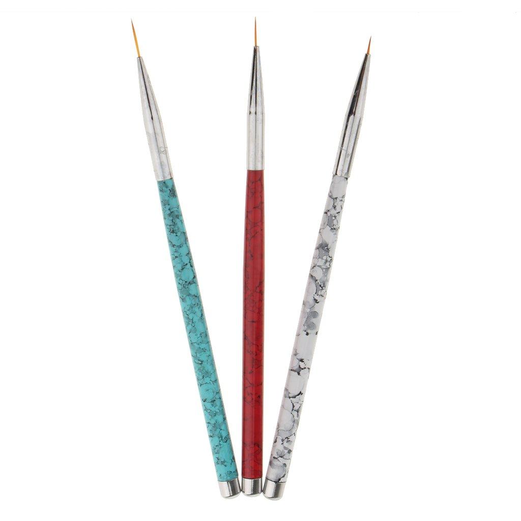 perfeclan 3 Piezas Nail Art Brush Pincel de Dibujo de Uñas Cepillo de Esmalte de Uña Pluma Manicura