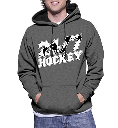 Men's 24/7 Hockey Two Tone Hoodie Sweatshirt (Charcoal / Black Strings, Large)