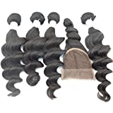 Vedar Beauty 4Bundles+1Closure Pure Original Indian Extensions Grade 6A Virgin Remy Loose Wave 4Pcs12