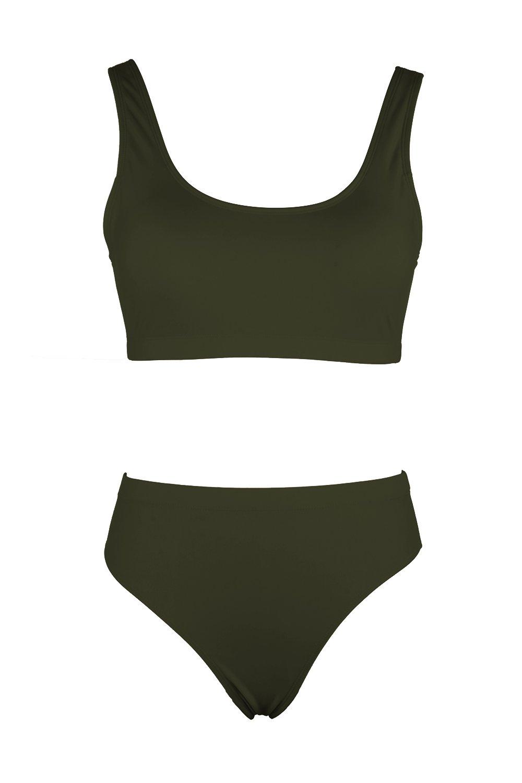 KAKALOT Women's Sexy Scoop Neck Crop Top with High Cut Bikini Bottom Sets Beachwear L Army Green by KAKALOT (Image #4)