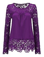 Shinekoo® Women Long Sleeve Plus Size Embroidery Lace Chiffon Tops Fall Blouse