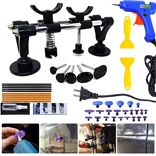 (Auto Body Dent Repair Kit, PDR Car Dent Puller Auto Paintless Dent Removal Repair Tool Set Dent Lifter with Glue Gun, Glue Sticks, Glue Puller Tabs, Glue Shovel for Car Dent Remover and Hail Damage)