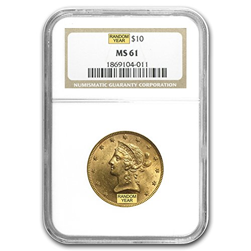 1850 – 1907 $10 Liberty Gold Eagle MS-61 NGC G$10 MS-61 NGC