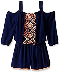 My Michelle Big Girls\' Cold Shoulder Romper with Front Detail and Drawstring At Waist, Navy, M