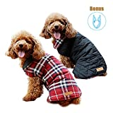 Zuozee Cold Weather Dog Vest - Winter Coats for Dogs - Dog Jacket Waterproof Warm - Reversible Plaid Dog Vest - Puppy Clothes Halloween Christmas - FREE Foldable Hanger