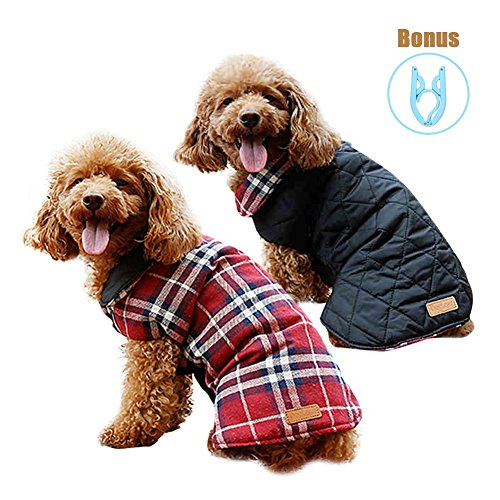 Zuozee Cold Weather Dog Vest,Winter Coats for Dogs,Dog Jacket Waterproof Warm,Reversible Plaid Dog Vest,Puppy Clothes Halloween Christmas,FREE Foldable Hanger by Zuozee