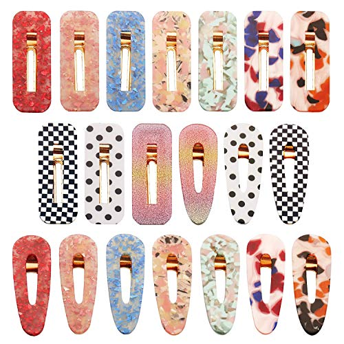 SUBANG 20 Pieces Barrettes Acrylic Resin Hair Clips Fashion Geometric Alligator Hair Clips for Women and Girls