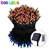 2018 Solar Color Changing String Lights Outdoor 500 Colored LED - Waterproof Lights 170 FT- Patio Lawn Landscape Lighting (500 LED)