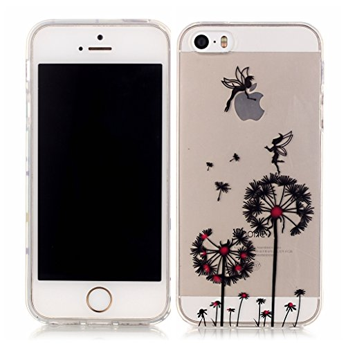 Schwarze Löwenzahn Drucken Design weich Silikon TPU schutzhülle Hülle für Apple iPhone 5 5S / SE,Premium Handy Tasche Schutz Case Cover transparent Crystal Bumper Schale für Apple iPhone 5 5S / SE + E