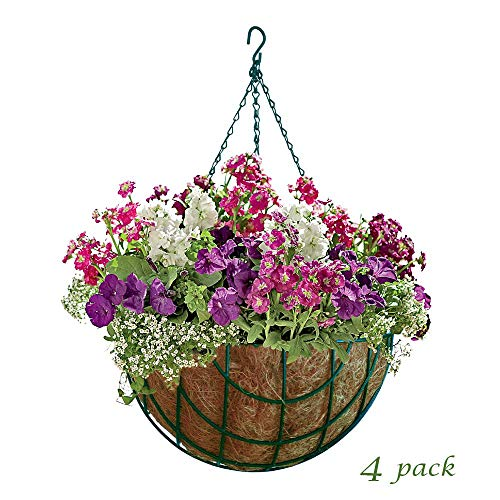 MTB Garden Green Hanging Baskets 14quot  Vintage Geo with CocoLiner Pack of 4 Hanging Planter Plant Hanger Hanging Flower Basket Chain Basket and Plant Growers for Home Balcony Patio Decoration