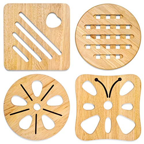(KIHR GOODS Natural Premium Wood Trivets for Hot Pots and Pans Set 2 Square / 2 Round 7