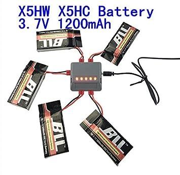 Fytoo 5pcs 3.7V 1200mAh Batería & 5 en 1 Cargador para Syma x5hw ...