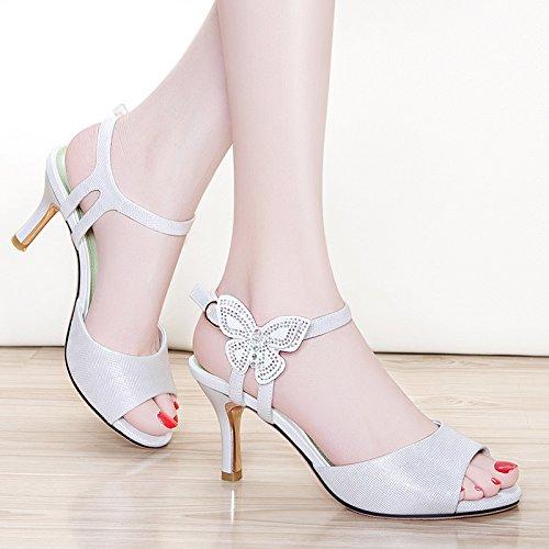 rojo tacones confortables White 34 altos con Mujer sandalias 8cm Moda verano xZ4HI
