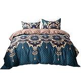 "MOVE OVER Bohemian Bedding Luxury Duvet Cover Set Green Gold/Brown Baroque Reversible Floral Printed Bedding King-(104""x90"")-3 Pieces-(1 Duvet Cover+2 Pillowcases)-120 GSM Microfiber Boho Bedding Set"