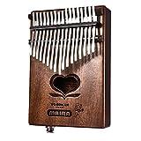 Per 17 Keys Electric Kalimba Portable Thumb Piano Heart-Shaped Hole Solid Finger Piano Mbira/Marimba Mahogany Body With Tune Hammer&Instruction Beginner Friendly-EQ Version