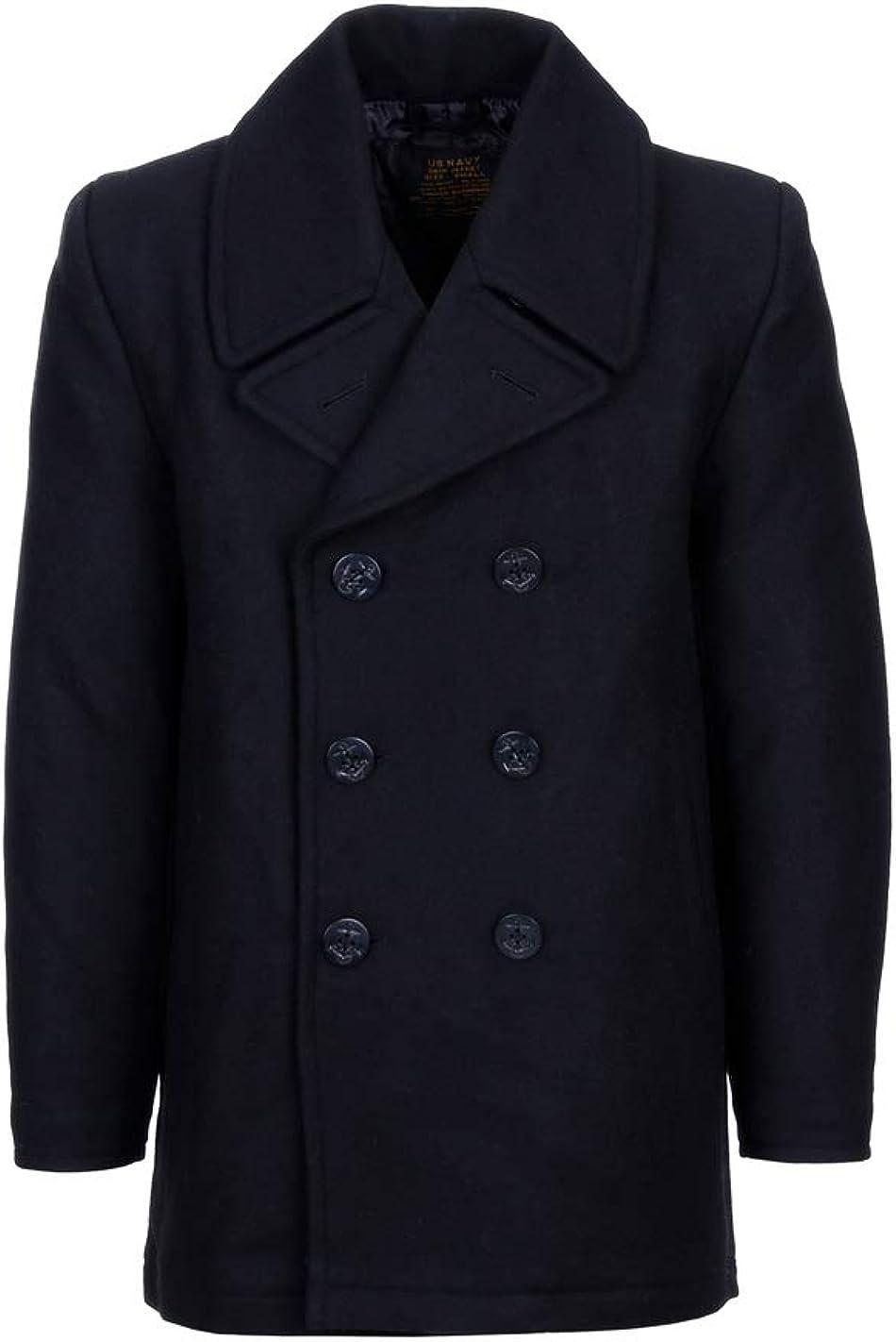 Cappotto Nero in Lana Doppiopetto US Navy Deck Jacket Pea Coat Marina Americana Fostex Garments