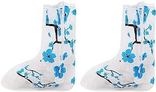 Underleaf Surchaussures Pluie Chaussures Couverture Fleur Bleue Motif protecteurs de Marche des Femmes des Hommes Réutilisable Garçons Filles, S