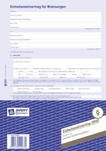 Avery Zweckform 2849 Einheitsmietvertrag (für Wohnungen, A4, selbstdurchschreibend) 5 Stück, blau