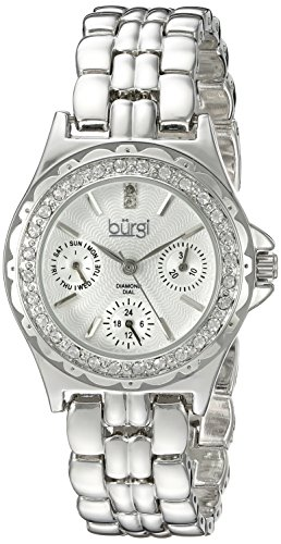 Burgi Women's BUR117SS Diamond & Crystal Accented Guilloche Dial Silver Bracelet Watch