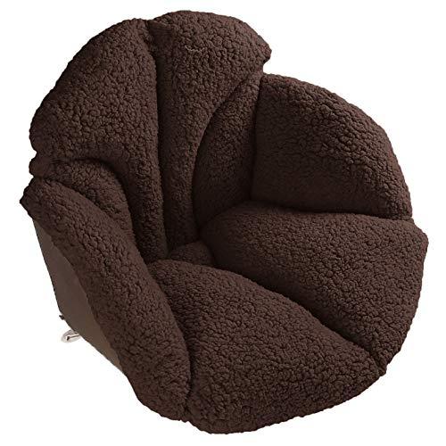 Hughapy Chair Cushions Desk Seat Cushion Warm Comfort Sherpa Wool Seat Cushion Pad for Support Waist Backrest, Winter Plush Cushion for Home Office Chair, Car Seat (Sherpa |19Wx16Lx16H, Coffee) (Chair Pad Papasan)