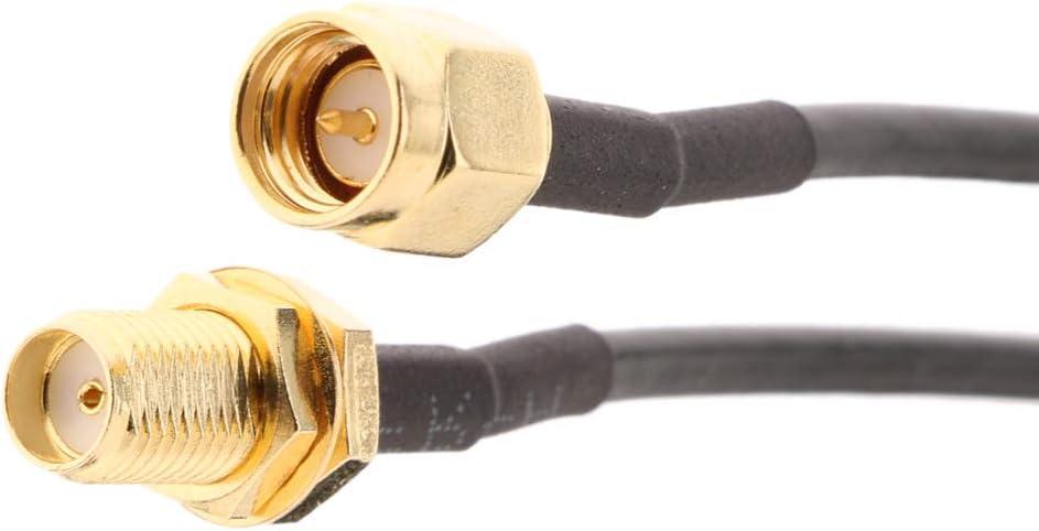 Verl/ängerung Antennenkabel f/ür RP SMA Stecker Schwarz 10 Meter RG174 RP SMA Buchse