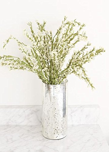 """Afloral Mercury Glass Cylinder Bouquet Vase in Silver - 9"""" Tall x 4"""" Wide"""