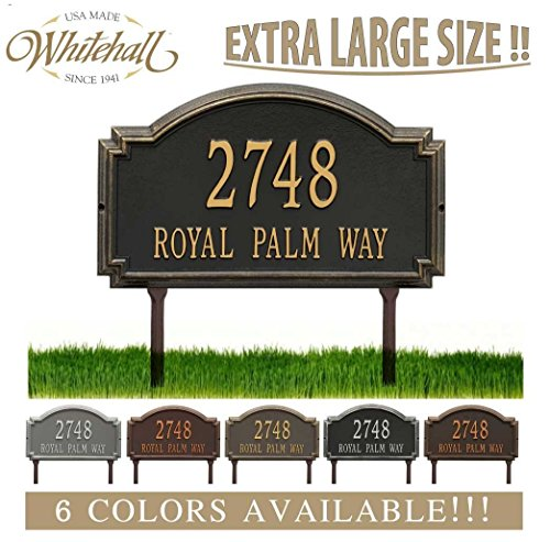 Estate Marker Address Sign - Personalized Cast Metal Address plaque - LAWN MOUNTED Williamsburg Estate Plaque. Display your address and street name. Custom house number sign.