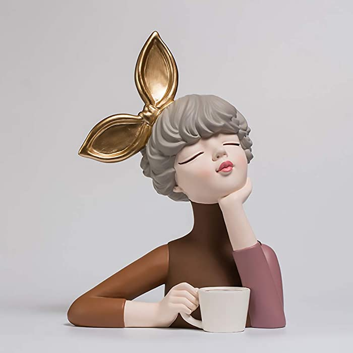 ZAIPP Resin Home Decoration Figurine Ornaments Modern Art Sculpture for Living Room Tabletop Gift,Girl Bust Statue Figures C-Curry. 20x15x30cm(8x6x12inch)