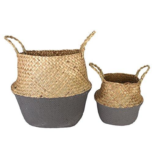 38 x 34 cm DIY New Model Seagrass Belly Basket Dipped Black Grey Storage Holder Plant Pot Bag Collection Garden Home Decor (Wicker Basker)