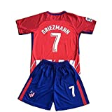 #3: Griezmann #7 Atletico Madrid Home Red/White Kids/Youth 2017/2018 Soccer Jersey and Shorts Set 11-13Y