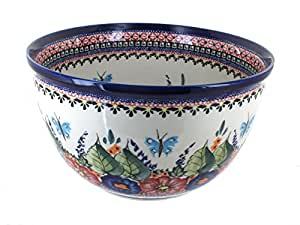 Polish Pottery Floral Butterfly Large Mixing Bowl