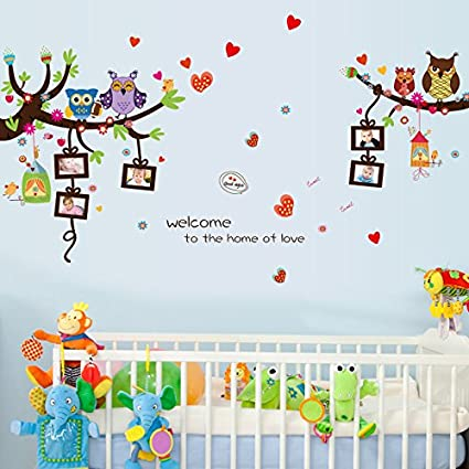 Oren Empower Artistic Owls with photo frame stickers (Multicolor, Finished size on wall - 150(w) X 81(w) cm)