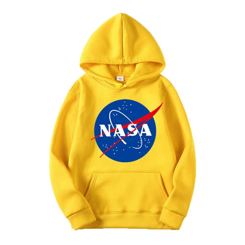 ZBSPORT Maschi Lettere della Serie NASA Felpe con Cappuccio Tasche Felpa Stampato Pullover Uomo Donna