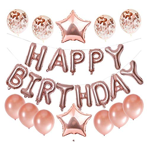 Happy Birthday Balloons Set -13pcs Letters Balloons 2pcs Giant Star Foil Balloons 4pcs Confetti Balloons 6pcs Latex Balloons Birthday Party Decorations and Supplies Ballons (Rose Gold)]()
