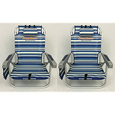 2 Tommy Bahama Backpack Beach Chairs 2016 / Blue