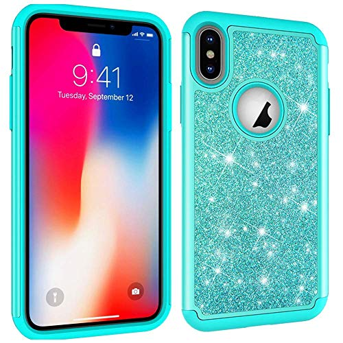 Bling Case Hard Plastic (Aiyze Compatible Apple iPhone 8 7 6 6S Case [Heavy Duty] Tough Dual Layer 2 in 1 Rugged Rubber Silicone Hybrid Hard Plastic Soft TPU Impact Back Protective Cover Glitter Powder Bling - Green)