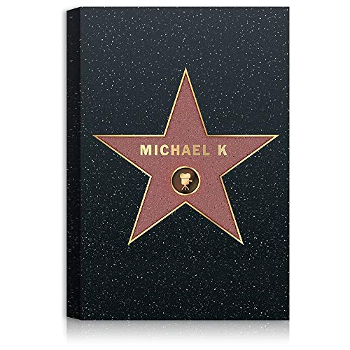 A&T ARTWORK Hollywood Walk of Fame Star - Personalized Canvas Prints The for Birthday Name and sgin Option.24x16 inches