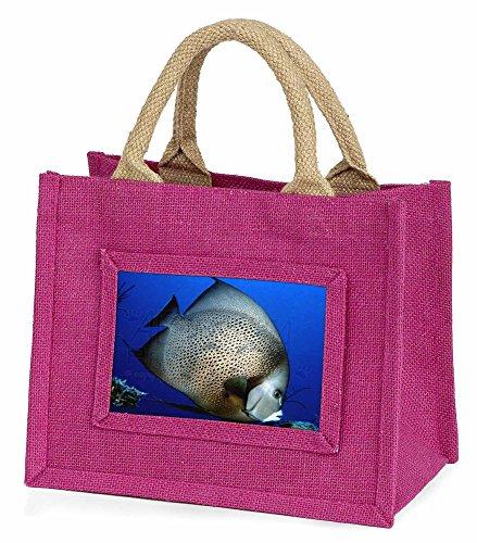 Advanta–Mini Pink Jute Tasche Funky Fische Kleine Mädchen Kleine Einkaufstasche Weihnachten Geschenk, Jute, pink, 25,5x 21x 2cm