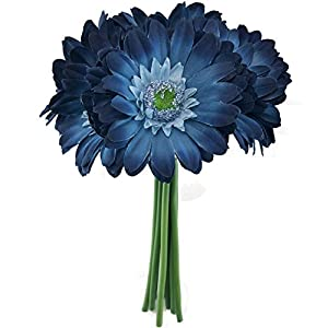 Blue Daisy Wedding Bouquet - Silk Bridal Flowers- 114